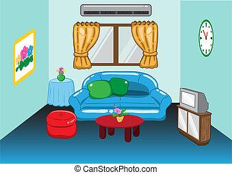 salle de séjour, illustration