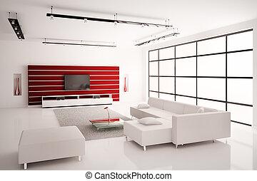 salle de séjour, intérieur, blanc rouge, 3d