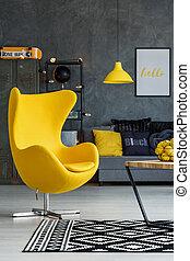 salle de séjour, jaune, détails