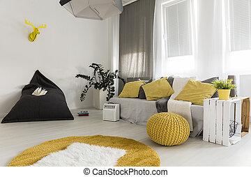 salle de séjour, lumière, idée, jaune, détails
