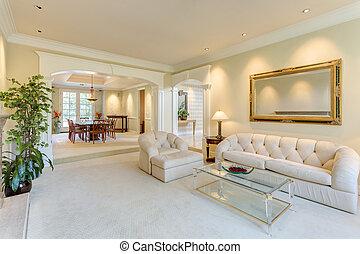 salle de séjour, luxe, maison