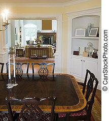 salle de séjour, luxueux, dîner, manoir, formel