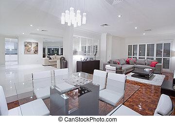 salle de séjour, luxueux, salles manger, fond, cuisine