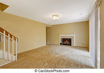 salle de séjour, maison, interior., cheminée, vide