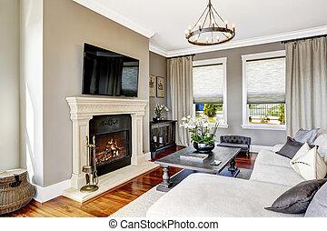 salle de séjour, maison, luxe, intérieur, impressionnant