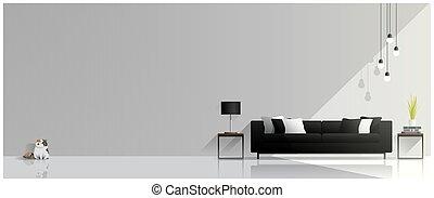 salle de séjour, moderne, 2, conception, fond, intérieur