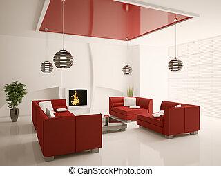 salle de séjour, moderne, intérieur, cheminée, 3d