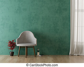 salle de séjour, moderne, rendre, intérieur, chaise, 3d