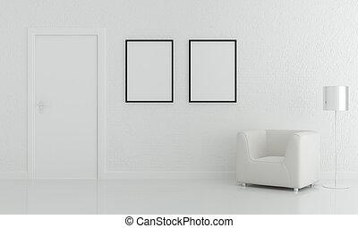 salle de séjour, mur, blanc, décoration, lampe, conception, intérieur, chaise, brique