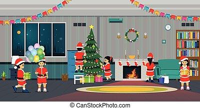 salle de séjour, partie christmas