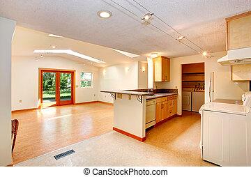 salle de séjour, plancher, maison, kitch, intérieur, plan., ouvert, vide