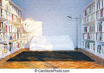 salle de séjour, render, étagères, grand, contemporain, bibliothèque, livres, beaucoup, intérieur, soleil, blanc, rays., 3d