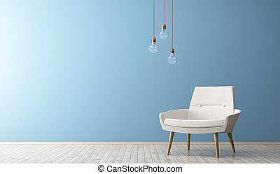 salle de séjour, render, fauteuil, moderne, intérieur, blanc, 3d