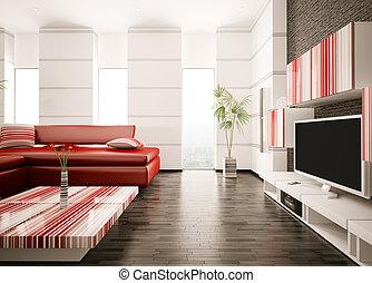 salle de séjour, render, moderne, intérieur, 3d