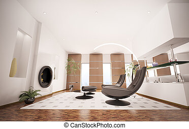 salle de séjour, render, moderne, intérieur, cheminée, 3d