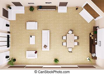 salle de séjour, render, sommet, intérieur, 3d, vue