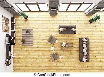 salle de séjour, render, sommet, vue intérieur, 3d