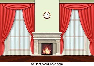 salle de séjour, rideaux, vecteur, intérieur, cheminée