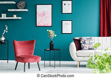 salle de séjour, rouges, fauteuil