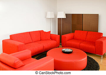 salle de séjour, rouges