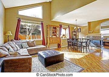 salle de séjour, secteur, maison, dîner, clair, interior., fireplac