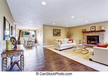 salle de séjour, secteur, maison, dîner, interior., confortable