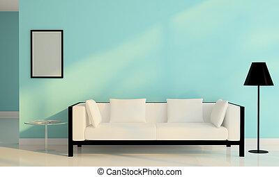 salle de séjour, sofa, moderne, décoration, conception, blanc, chaise