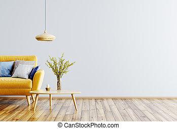 salle de séjour, sofa, rendre, intérieur, 3d