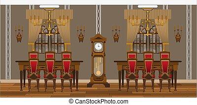 salle de séjour, tables, chaises, cabinet, grand, intérieur, ou