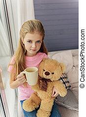 salle de séjour, thé, innocent, enfant, boire