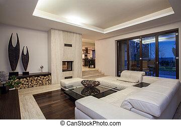 salle de séjour, travertin, maison, -, luxueux