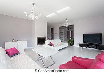 salle de séjour, vibrant, -, contemporain, petite maison