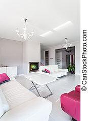 salle de séjour, vibrant, -, petite maison, cheminée