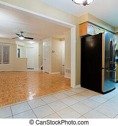 salle de séjour, vide, cuisine