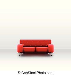 salle, divan, réaliste, vecteur, blanc rouge