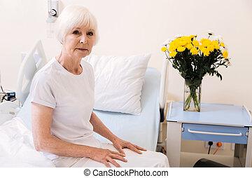 salle, elle, séance, dame, hôpital, tendre, vieilli, ...