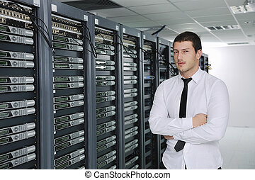 salle, engeneer, datacenter, serveur, jeune