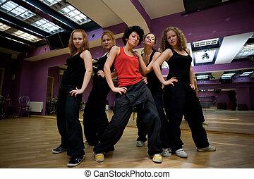 salle entraînement, danse, collectif, exposition, déclaration, avant