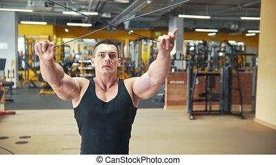 salle entraînement, poids, séance entraînement, jeune, musculaire, homme