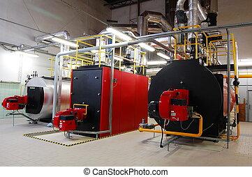 salle, essence, chaudières, production, chaudière, vapeur