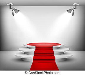 salle exposition, carpet., rouges, vector.