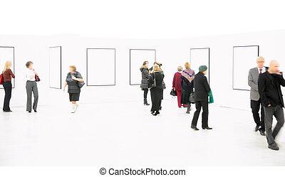 salle exposition, gens