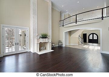 salle, famille, balcon