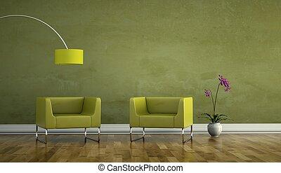 salle, fauteuil, moderne, clair, conception, intérieur