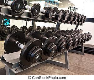 salle, fitness, haltère