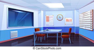 salle, gendarmerie, interrogation, intérieur