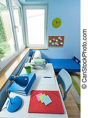 salle gosses, à, blanc, bureau