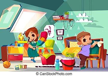 salle gosses, leur, vecteur, nettoyage, dessin animé