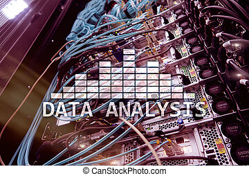 salle, grand, concept., moderne, analyse, serveur, arrière-plan., texte, données, technologie internet