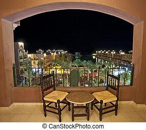 salle, hôtel, mer, nuit, balcon, vue